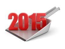 Paletta per la spazzatura e 2015 (percorso di ritaglio incluso) Fotografia Stock