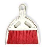 Paletta per la spazzatura ed insieme di plastica rosso della scopa Fotografia Stock