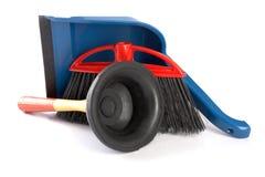 Paletta per polvere, il tuffatore e la spazzola immagine stock