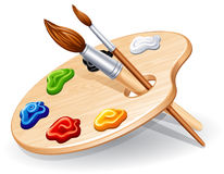 Palette. Wooden palette with paints and brushes - illustration royalty free illustration