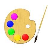Palette. Vector artist's palette and brush Stock Photo