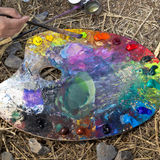 A palette. A painter was working with his palette Stock Photography