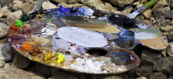 A palette. A painter was working with his palette Royalty Free Stock Photo