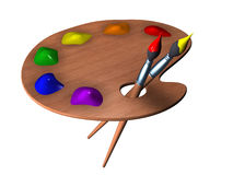 Palette. 3d render of art palette royalty free illustration