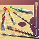 Palette. Background with palette, tube paint and brushes stock illustration