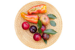 Palette of  autumn fruits and vegetables Stock Photos
