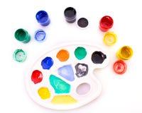 Palette avec différentes couleurs d'isolement Image stock