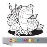 Palette avec la peinture, les brosses et la peinture de jet dans les roses - livre de coloriage Photographie stock libre de droits