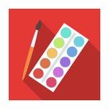 Palette avec les peintures et la brosse Peinture à l'école L'icône simple d'école et d'éducation dans le style plat dirigent des  Images stock
