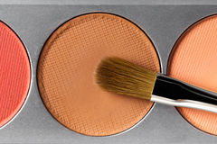 Palette of brown and terracotta eye shadow and makeup brush, top view Stock Image