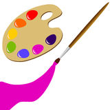 Palette and brush Royalty Free Stock Photography