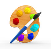 Palette and brush. 3d palette with brush . 3d render Stock Photos