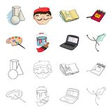 A palette with a brush, a bucket with a paint brush, a computer, a tool, a pen.Artist and drawing set collection icons. In cartoon,outline style vector symbol Royalty Free Stock Photos
