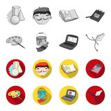 A palette with a brush, a bucket with a paint brush, a computer, a tool, a pen.Artist and drawing set collection icons. In monochrome,flat style vector symbol Stock Photo