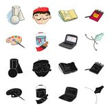 A palette with a brush, a bucket with a paint brush, a computer, a tool, a pen.Artist and drawing set collection icons. In black,cartoon style vector symbol Stock Images