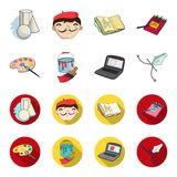 A palette with a brush, a bucket with a paint brush, a computer, a tool, a pen.Artist and drawing set collection icons. In cartoon,flat style vector symbol Stock Photos