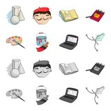 A palette with a brush, a bucket with a paint brush, a computer, a tool, a pen.Artist and drawing set collection icons. In cartoon,monochrome style vector Stock Photos