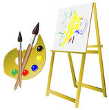 Palette_brush_easel Stock Photos