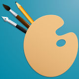 Palette with brush, pencil and pen. Colored background. Vector Image. stock illustration