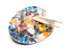 Palette and brushes Royalty Free Stock Images