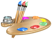 Palette and brushes. Stock Photography
