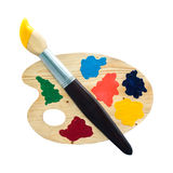 Palette of color paints art on white background Stock Image