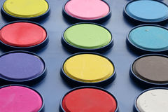 Palette of colored inks Royalty Free Stock Images