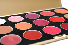 Palette of colored lipsticks. Royalty Free Stock Photography