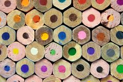 Palette of colored pencils Royalty Free Stock Photos