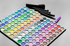 Palette of colorful eye shadows Royalty Free Stock Images
