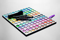 Palette of colorful eye shadows Stock Images