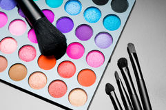 Palette of colorful eye shadows Royalty Free Stock Photo