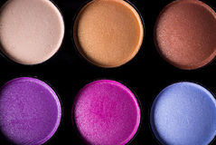 Palette of colorful eye shadows. Royalty Free Stock Photography