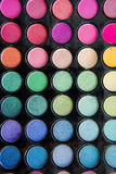Palette of colorful eye shadows Stock Photos