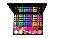 Palette of colorful eye shadows and makeup brush Stock Photo