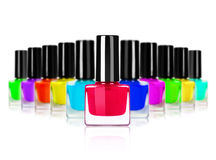 Palette of colorful nail polishes on white background.  Stock Photography