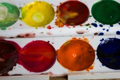 Palette of colorful watercolors close Stock Photo