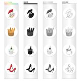 A palette of colors and beret, a French loaf, champagne chilled, women`s shoes with heels. France set collection icons. In cartoon black monochrome outline vector illustration