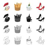 A palette of colors and beret, a French loaf, champagne chilled, women`s shoes with heels. France set collection icons. In cartoon black monochrome outline stock illustration
