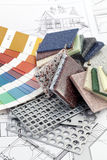 Palette of colors designs for interior works Stock Image