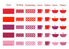 The palette of colors of embroidery knitting elements icons  Stock Photos