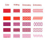 The palette of colors of embroidery knitting elements  ill Stock Photography