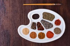 Palette of colors of herbs and spices Stock Photo