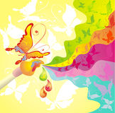 Palette of colours and brush, vector illustration Stock Photos