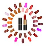 Palette of colours of lipstick Stock Images