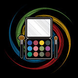 Palette Cosmetic. Makeup Colorful Palette designed on spin wheel background graphic vector Royalty Free Stock Photos