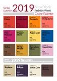Palette de couleurs 2019 d'été de ressort de semaine de mode de New York Couleurs de l'année Tendance de couleur de mode illustration stock