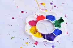 Palette der Wasserfarbe auf weißem Hintergrund Lizenzfreie Stockfotografie