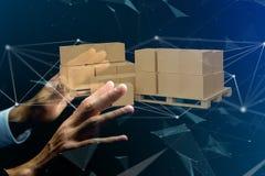 Palette des carboxes avec le système de connexion réseau - 3d rendent Photographie stock
