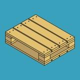 Palette en bois d'isolement sur le fond bleu Images stock